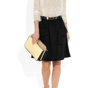 Chloé Black Wool-Blend Jersey Skirt